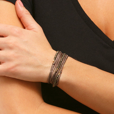 Silk Wrap Bracelet - Brown & Pyrite