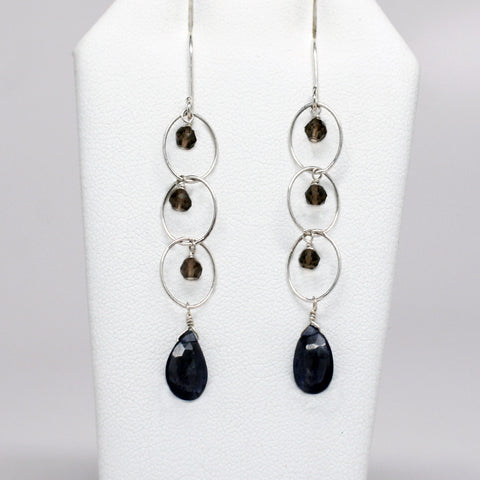 Silver Smokey Quartz & Blue Iolite Infinity Earrings