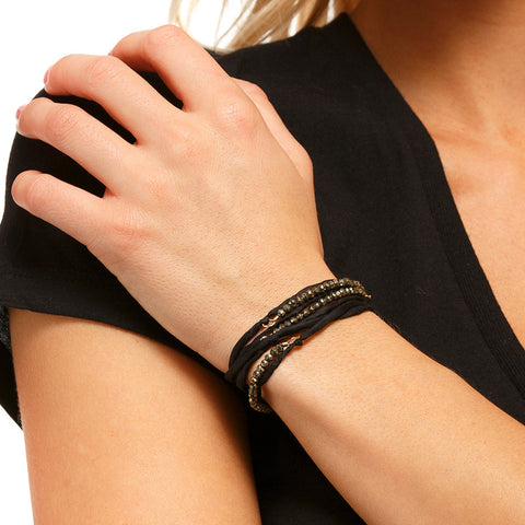 Silk Wrap Bracelet - Black & Pyrite