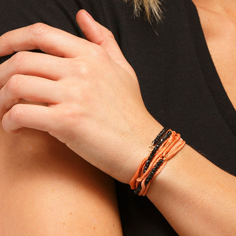 Silk Wrap Bracelet - Black on Orange