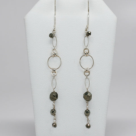 Silver Pyrite Infinity Earrings