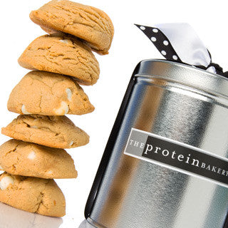 Peanut Butter White Chip Cookie Silver Pint Tin - Protein Bakery