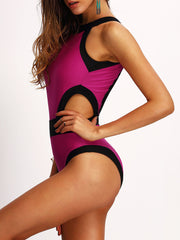 Sandy Contrast Trim Cutout Swimsuit