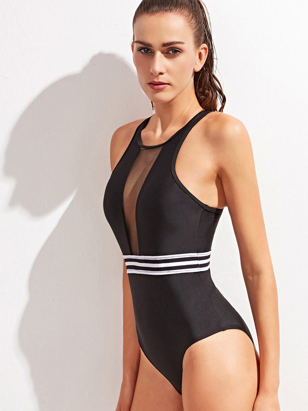 Black Stripe Sheer Front Zipper Back Swimsuit
