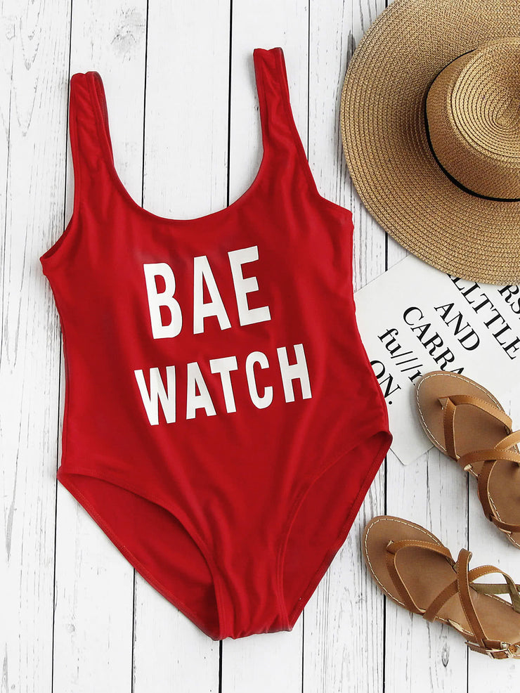 Graphic Print Bae Watch Swimsuit