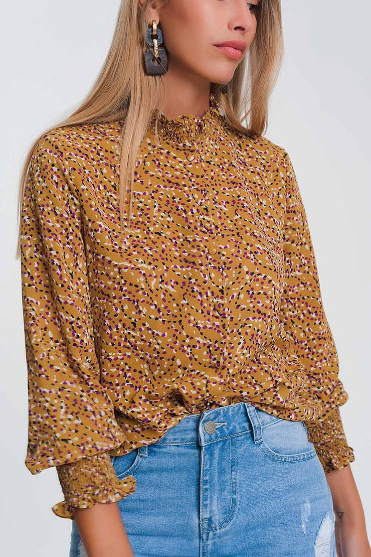 High Neck Blouse in Mustard Geo print