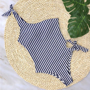 White Blue Striped One Piece Swimsuit