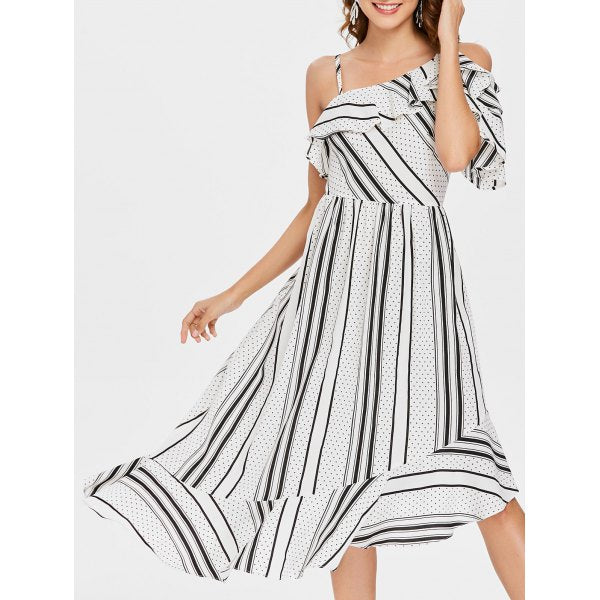 Shana Stripe Dot Ruffle Midi Dress