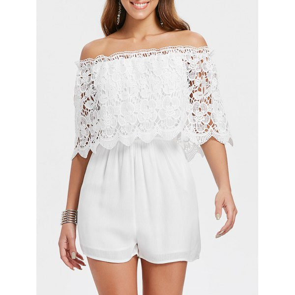 Laura Half Sleeve Lace Romper