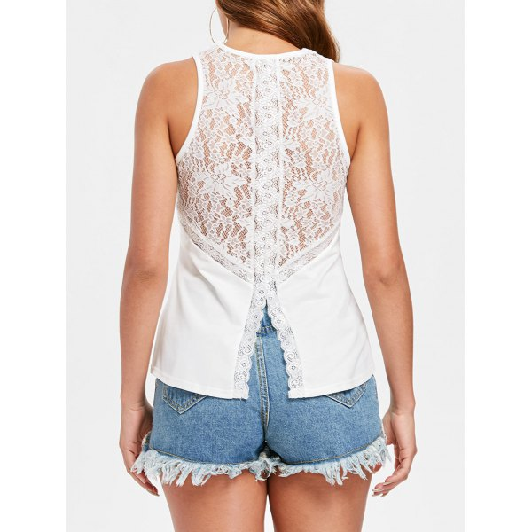 Hollow Out Floral Lace Tank Top