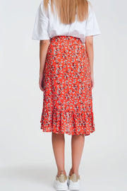 Asymetric Wrap Printed Red Skirt
