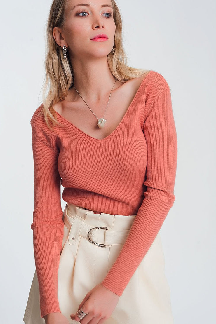 Knitted Jumper in Light Pink
