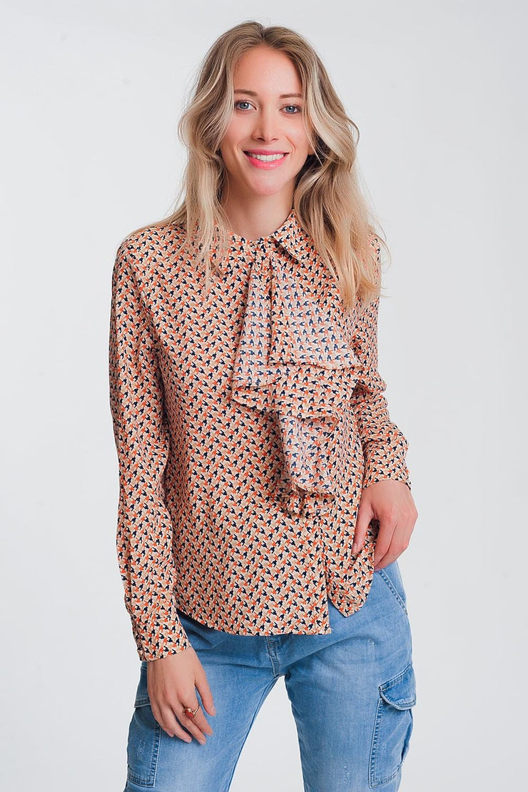 Long Sleeve Blouse With Ruffle Detail in Beige