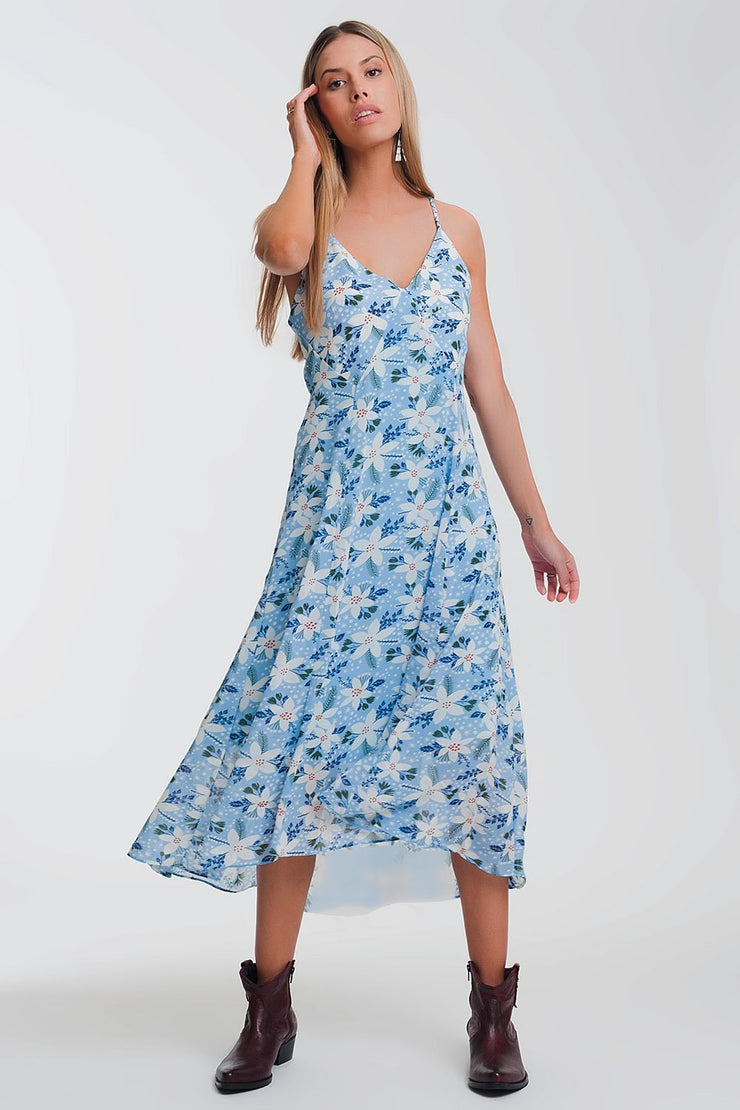Philly Cami Strap Maxi Dress in Blue Floral