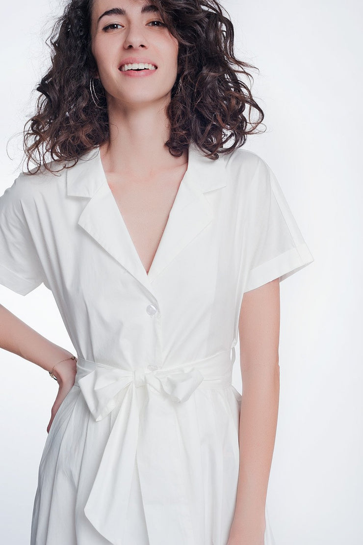 White Poplin Shirt Dress With Belt and Short Sleeve