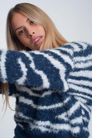 Fluffy High Neck Sweater With Stripes in Blue