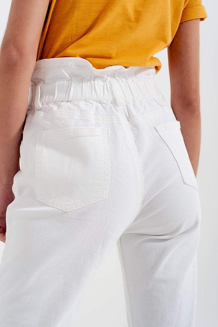 Elasticated Paper Bag Waist Mom Jeans