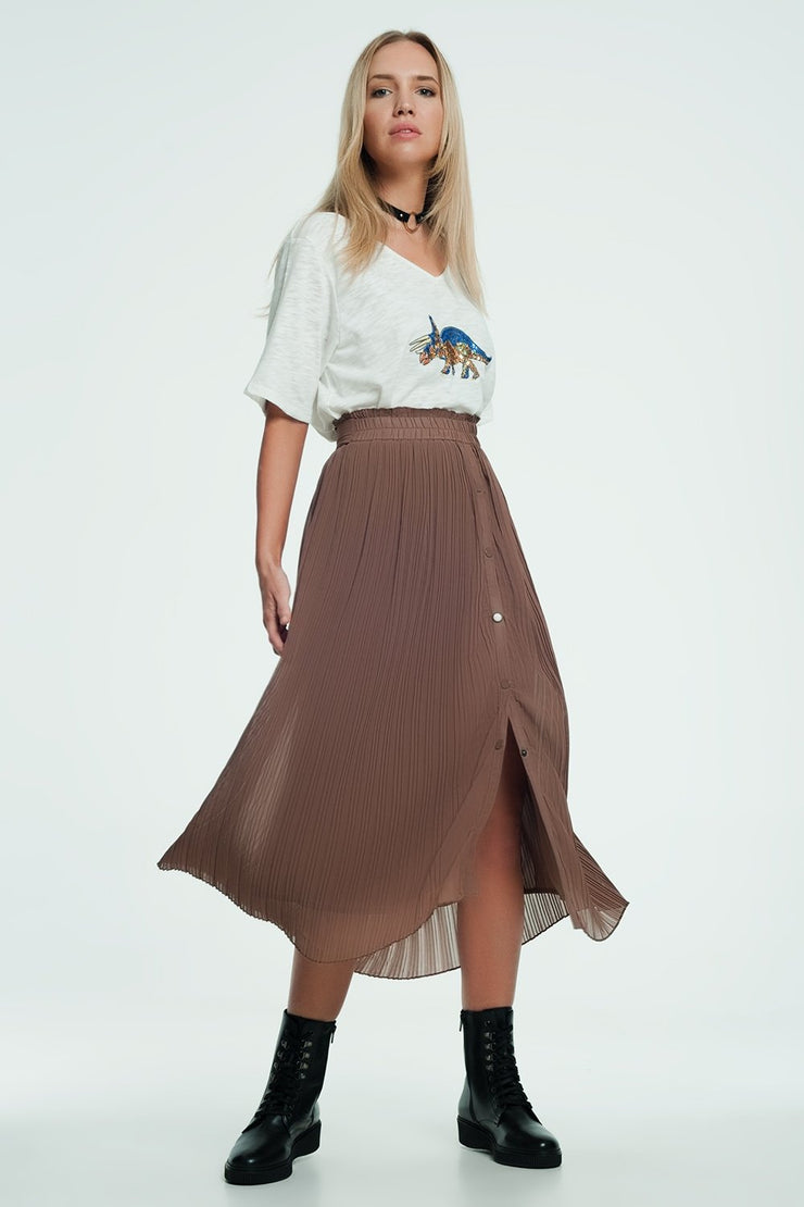 Beige Floaty Midi Skirt