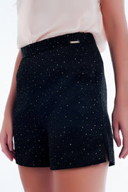 Embellished High Waist Short in Black and Gold