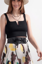 Emilia Rib Crop Top in Black