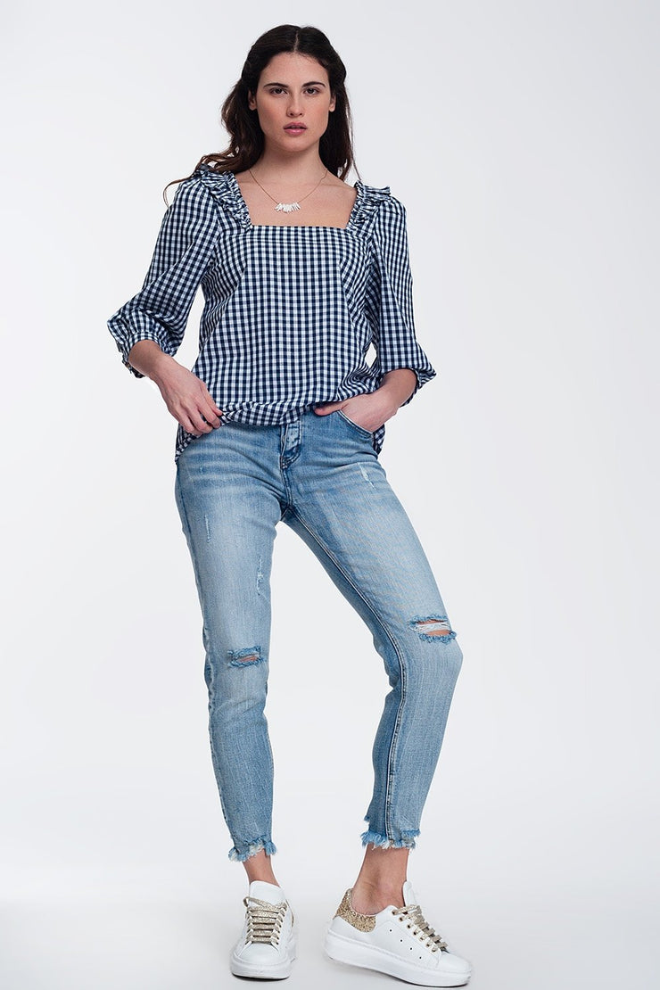 Suzette Check Square Neck Top