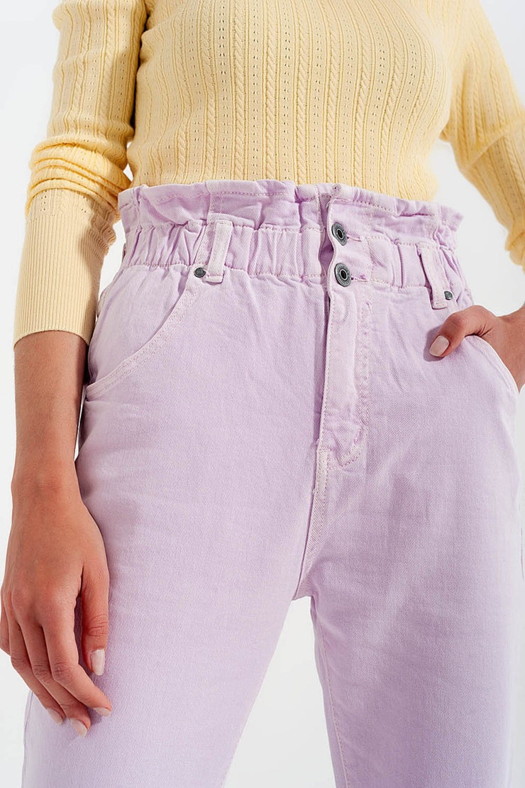 Lira Elasticated Paper Bag Waist Mom Jean in Lilac