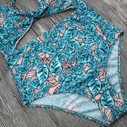 Blue Floral Printing Swimsuit