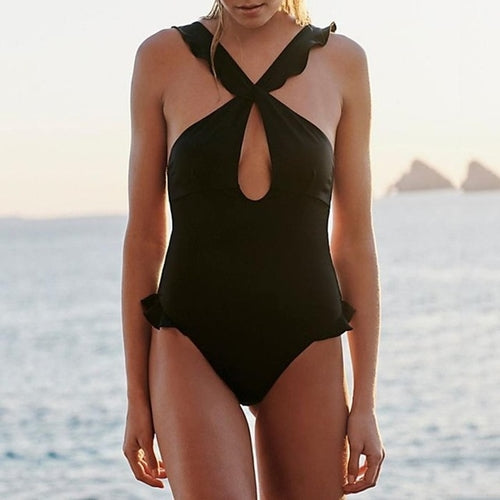 Azella Solid Flounce Hollow swimsuit