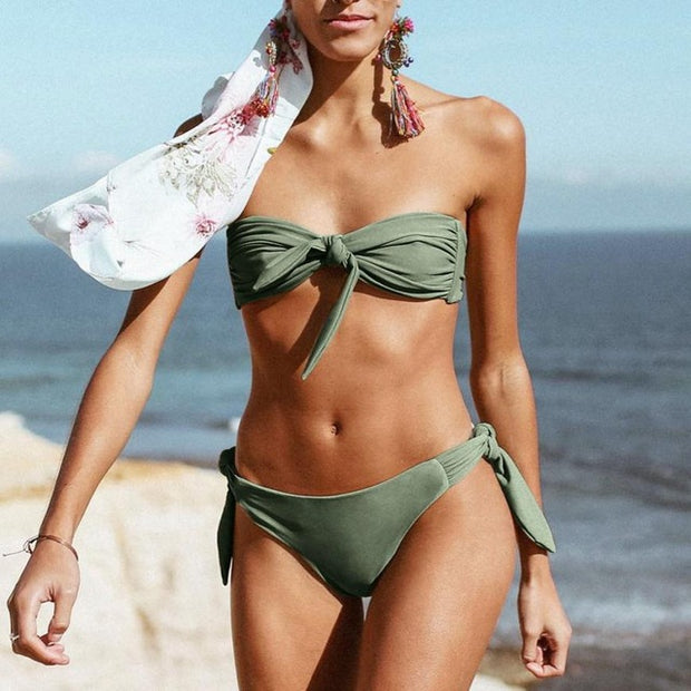 Wanu Solid Bow Bikini Rembourré Push-Up