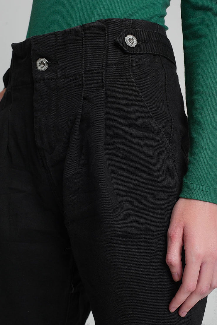 Zora Jeans With Paper Bag Waist in Black