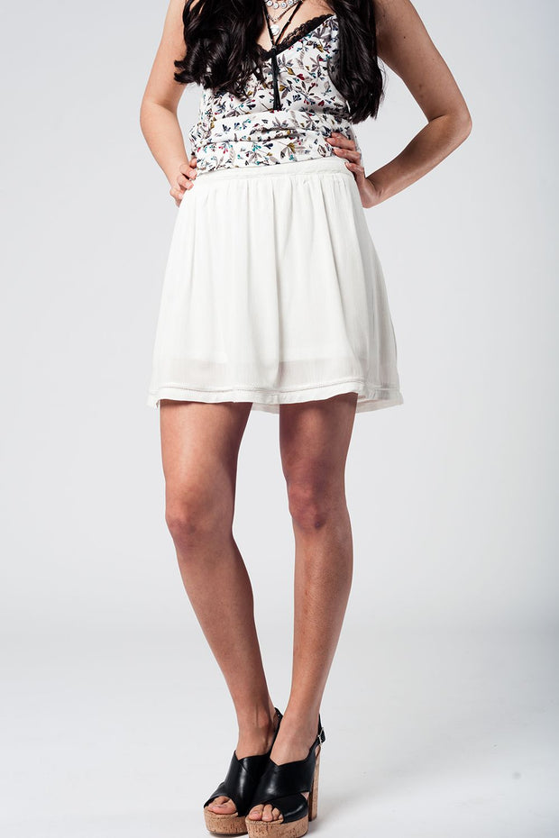 Aztec white mini skirt
