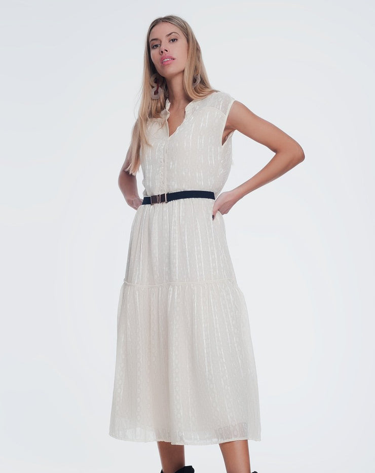 Nourine Textured Smock Dress in Beige