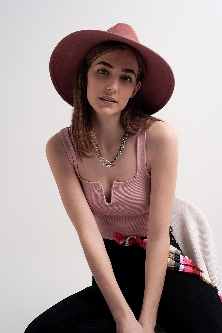 Emilia Rib Crop Top in Pink Blush