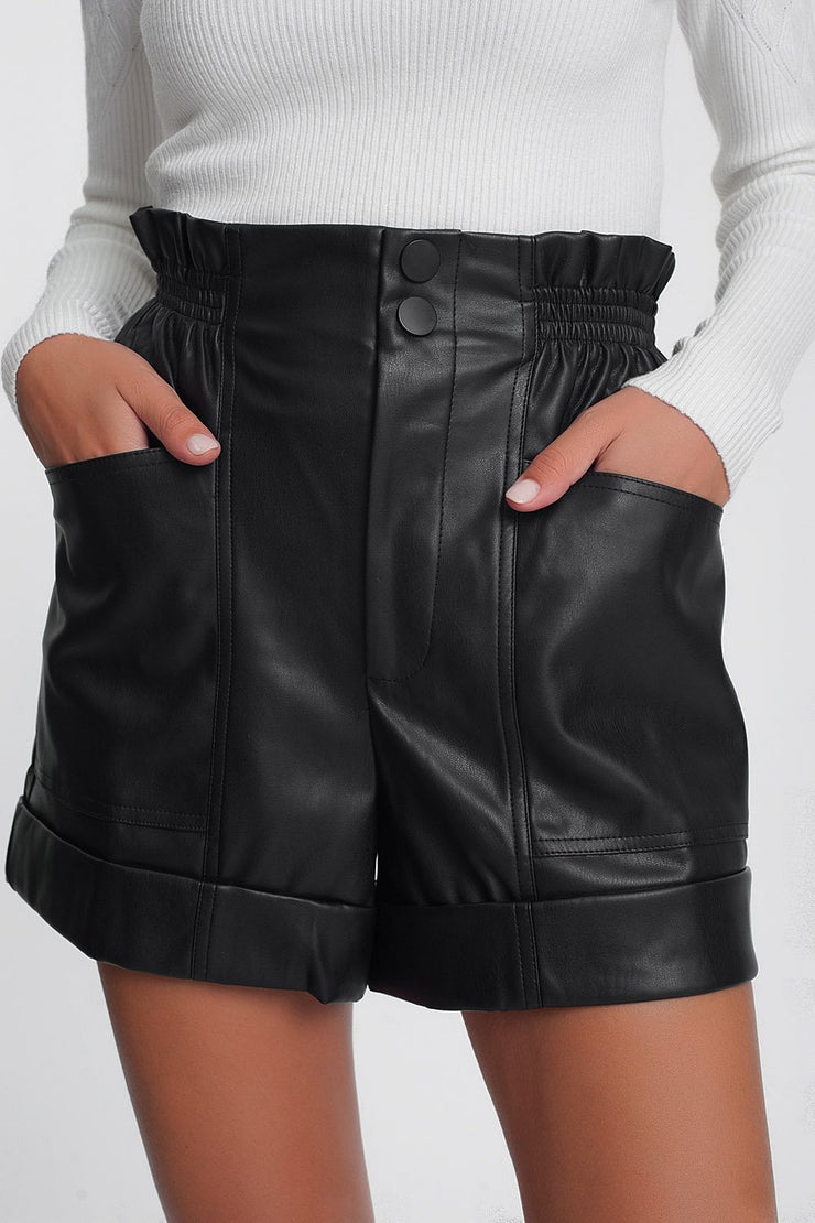 Paper-Bag Waist Faux Leather Shorts in Black