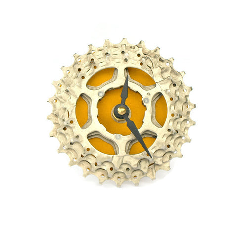 Bicycle cog clock in yellow