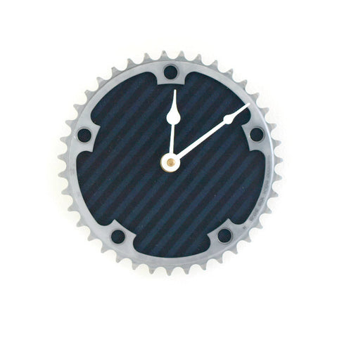Bicycle clock with upcycled fabric in black