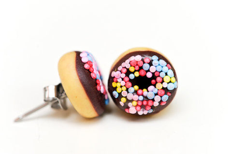 Iced chocolate donut studs by Suzanne Anderson