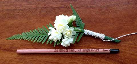 Custom Sprout pencils for wedding favours
