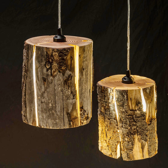 Cracked log pendants at night