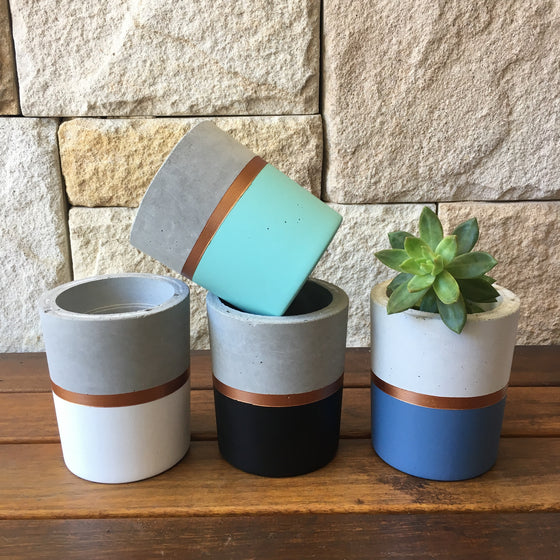 Concrete Planter: Metallic Stripe
