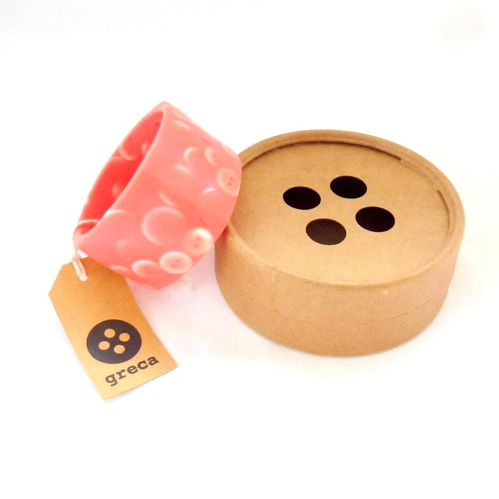 Button Bangle in Coral