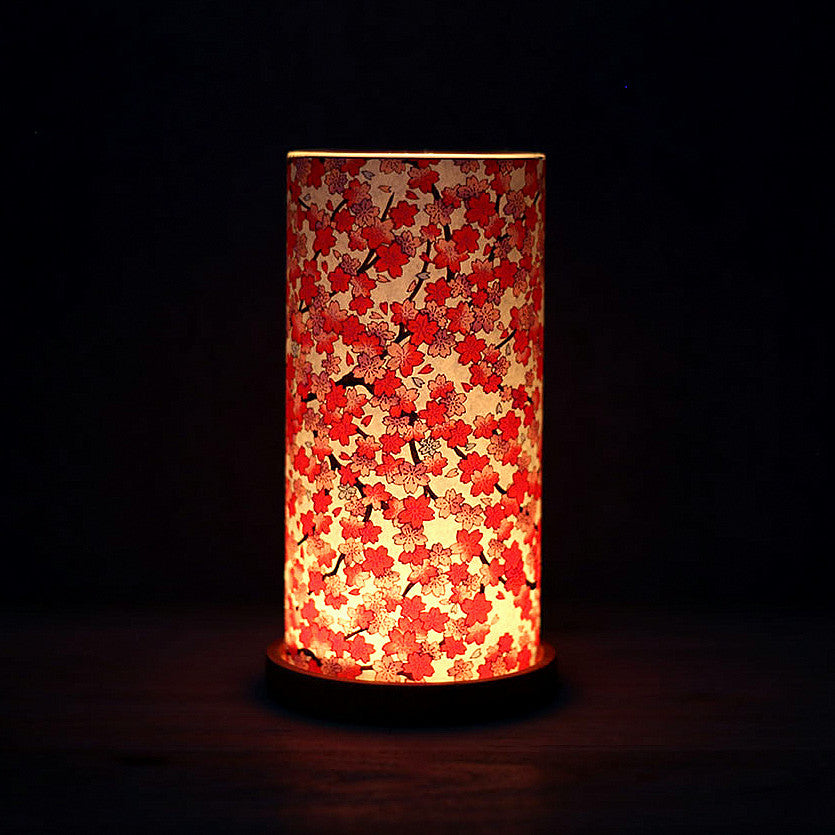 Paper Glass Lantern: Red Sakura at night