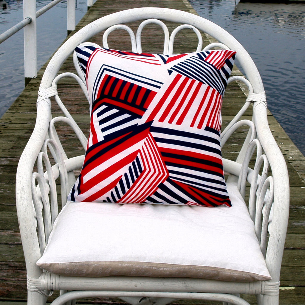 Vintage Mu'umu'u Cushions in Red, White and Blue