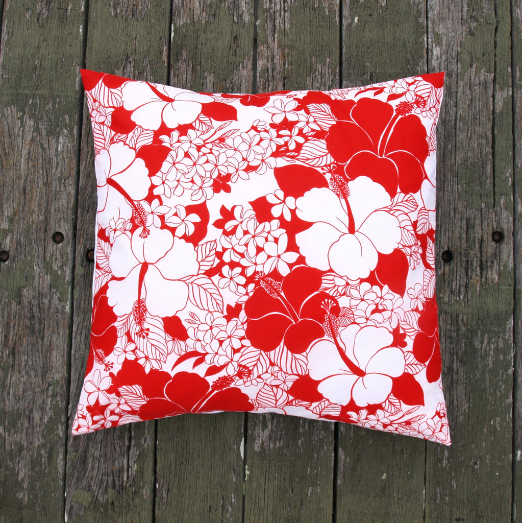 Vintage Mu'umu'u Cushion in Red and White Floral