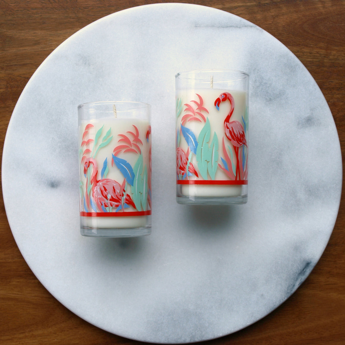 Handmade Soy Vintage Glass Candle: Retro Flamingo