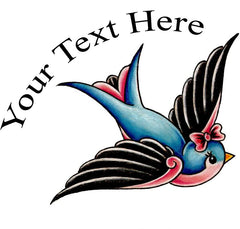 Pretty Bird Tattoo - Personalize with your text