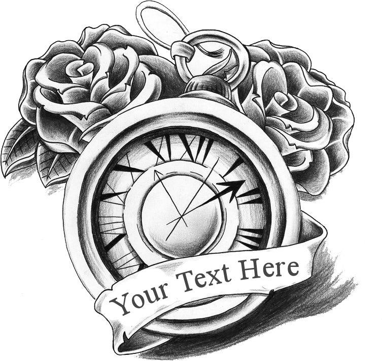 Clock Rose Temporary Tattoo - Customize with your text
