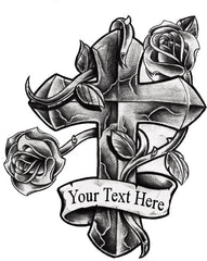 Cross Fake Tattoo - Personalize with your text
