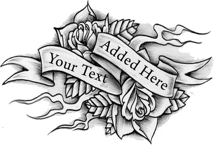 Tribal Rose Temporary Tattoo - Personalize with your text