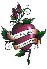 Add custom text Heart Rose Tattoo